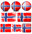 Norway flag on different objects vector image vector image
