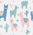 childish seamless pattern with cute llama and vector image