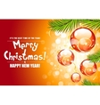Christmas background with fir twigs and red balls vector image