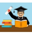Happy graduate with diploma vector image