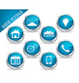 Set of icons or buttons in blue vector image