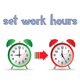 set work hours with two clock vector image