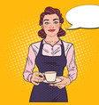 pop art female bartender with cup of coffee vector image vector image
