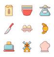 bakery icons set flat style vector image
