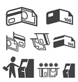 ATM Cash Credit Card and Payment icons set vector image