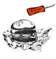 Burger in paper vector image