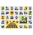 farm icons set collection elements grower vector image
