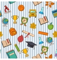 School pattern on striped blue and white vector image