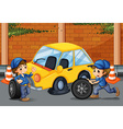 Mechanics changing tyres on the road vector image vector image