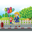 A young boy with balloons and a girl eating an ice vector image vector image