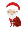 colorful santa claus with glasses and bag vector image