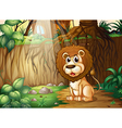 A lion sitting at the forest vector image