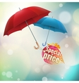 Autumn sale labels with umbrellas EPS 10 vector image
