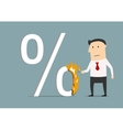 Businessman burning a high percent symbol vector image