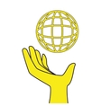 sphere human hand icon vector image