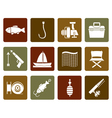 Flat Fishing and holiday icons vector image