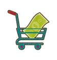 drawing shopping cart online money vector image