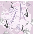 Seamless pattern with Paris flowers and music-04 vector image