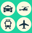 shipment icons set collection of streetcar cab vector image