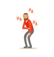 happy bearded man laughing out loud and holding vector image