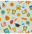 School pattern on striped bacground vector image