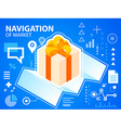 bright navigate map and gift box with bow on vector image