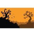 Halloween owl and bat at afternoon vector image