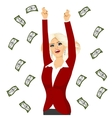 business woman under a money rain vector image
