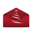 christmas red envelope with star and blizzard vector image