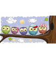 five owls is sitting on a brunch vector image