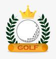 golf ball crown label emblem vector image