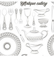 hand drawn antique silver cutlery set pattern vector image