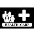 health care icon with family and medical cross vector image