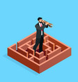isometric businessman looks in a spyglass vector image