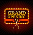 light bulbs vintage neon glow grand opening vector image
