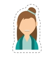 people casual woman with hair bow icon vector image