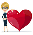 portrait of beautiful woman with red heart in hand vector image