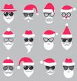 set of santa hats glasses and beards vector image