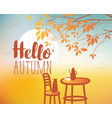 landscape on autumn theme with cat and furnitures vector image