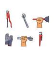 Flat plumbing tools equipment set vector image