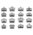 Royal crowns set in black on white background vector image vector image