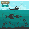 Fishing on the boat Fishing design elements vector image