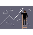 Business man standing on ladder drawing growth vector image