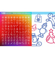 linear icons for Christmas and New Year vector image