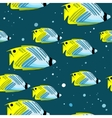 Pattern with bright green-blu fishes and bubbles vector image