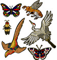 bee butterfly beetle crane bird embroidery vector image