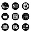 book learning concept round icons vector image
