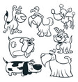cartoon dogs outlined vector image