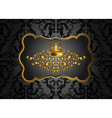 Golden vintage invitation card with lot of vector image