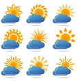 Sun and cloud icons set - vector image